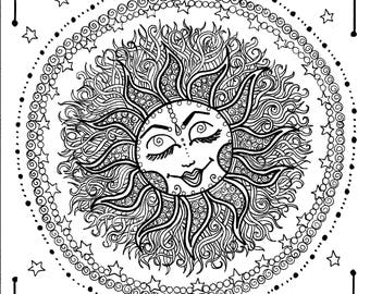 Sun Mandala Digital Coloring Page Instant Download Zen Relax Adult Color Pages Celestial Moon Stars