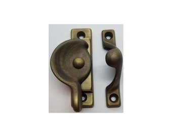 Decorative Solid Antique Brass Heavy Duty Spring Loaded Window Sash Lock Latch Square Cornered Catch century modern antique old vintage