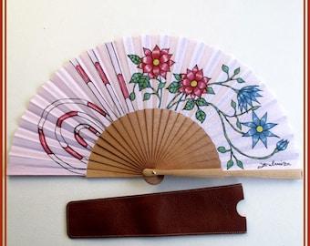 de Artisan fan flowers fan Handfan for wedding red fan Wood folding fanHand held fan Modern handfans Spain folding fan Gift for bri