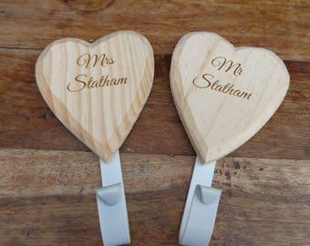 Personalised Wooden Engraved Heart Shape Coat Hooks - MR & MRS - Wedding Gift
