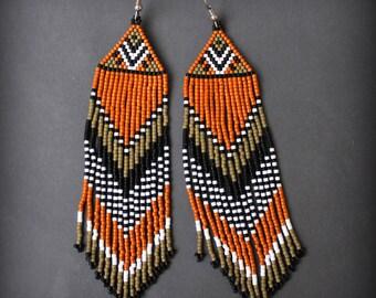 Ethnic boho earrings Seed bead fringe earrings Hippie earrings Beaded jewelry gift for women Earthy jewelry Long bohemian earrings Beadwork