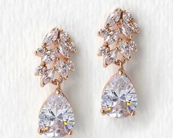 Bridal Earrings Rose Gold Wedding Jewelry Crystal Teardrop Earrings Rose Gold Crystal Earrings Dainty Boho Earrings Leaf Earrings E186-RG