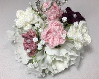 Handmade Crocheted Flower Wedding Cake Topper ~ Ready to ship!
