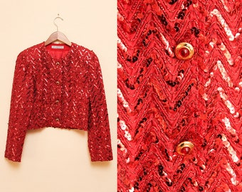 Red Sequin Jacket // Handmade Cropped Jacket // Snap Closure Sparkly Flashy Coat Size Small