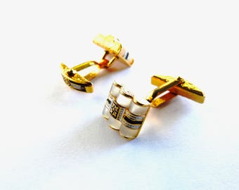 Vintage Damascene Mother of Pearl Cufflinks