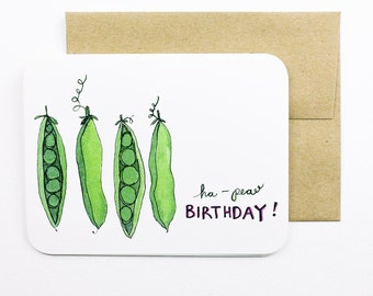 Ha-pea Birthday Card with envelope | Peas | Green | Green peas | Birthday card | Funny Birthday