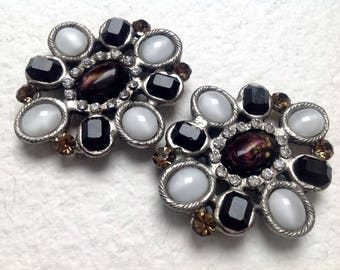 "Vtg 80s Two Byzantine ""Gripoix"" multicolor glass and rhinestones silver tone brooch/ pin/buckle"