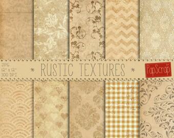 "Rustic digital paper : ""Rustic Textures"", old digital paper, beige scrapbook paper, decoupage paper, vintage backgrounds, distressed paper"