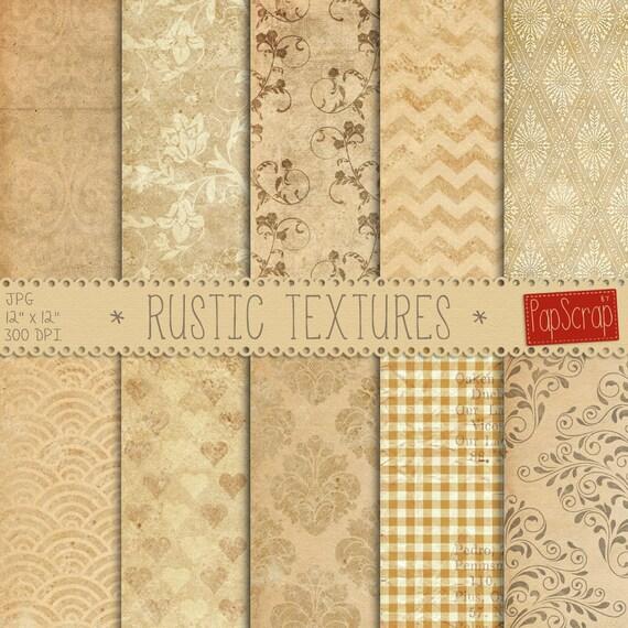 Rustic Digital Paper Textures Old Beige Scrapbook Decoupage Vintage Backgrounds Distressed From Papscrap On