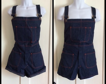Vintage Deadstock 1970's Denim Overalls Short Shorts size 33, measures 32 NOS Dark Blue
