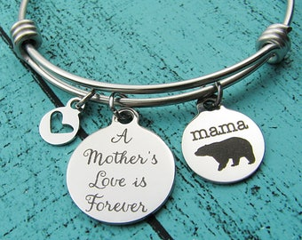 new Mom gift bracelet, Mothers Day gift, Mama bear bracelet, baby shower gift, Mother to be gift, Mommy jewelry, a Mother's love is forever