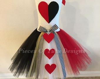 Queen of hearts tutu dress/costume, dress up costume, theme tutu dress