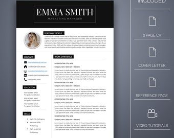 Resume Template Six - 4 pages, Cover Letter, Microsoft Word, Instant Download, Professional Resume Template, CV Template, CV Template Word