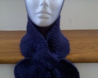 Knitted Lotus Leaf Scarf - Stays Put - Amazing Look To Keep You Warm in terrific colors - Navy