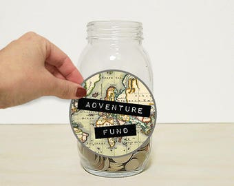Travel Label Adventure Fund  Instant Download. Create your own Travel Piggy Bank, Coin Jar, Money Bank or Coin Bank. DIY Label. Glass Jar