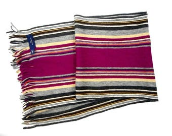 Multicolor  Scarf, Scarf by Profuomo Moda, Striped Long Scarf, Lambswool Skarf