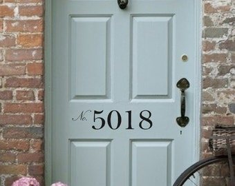 Front Door Number Vinyl Decal • Street Number - House Address Number - Door Decal Decor
