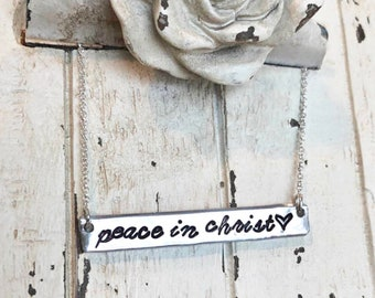 Peace in Christ hand stamped bar necklace-2018 young women theme-LDS Peace in Christ Jewelry