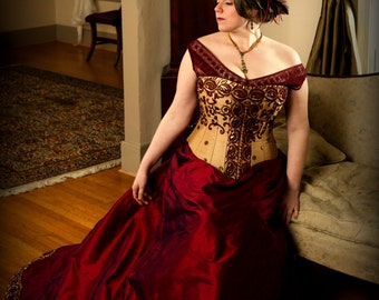 Plus Size Wedding Corset Gown, Curvy Bridal Hourglass, Full Silk Trained Skirt, Ruby-Gold Embroidered Sari, includes free fitting & mockup