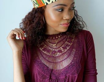 Satin Lined Headband Wide Headband Wrap Pineapple Bun Wrap Ankara African Print Wrap Turban - Mod Kente or Choose Print