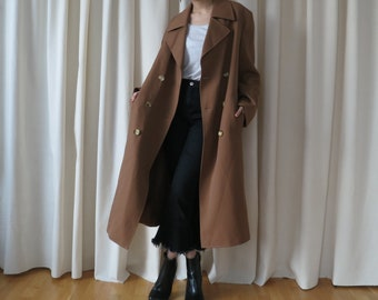 brown classic trench coat • Italian long wool pea coat • double breasted over coat • oversize trench coat • m medium l large