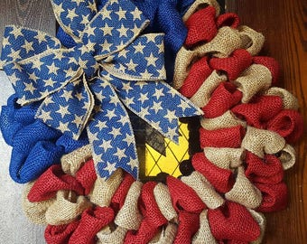 American Flag Wreath, American Flag, fourth of July wreath, Burlap Wreath, Patriotic Wreath, Rustic American Flag, Americana, Rustic, Flag