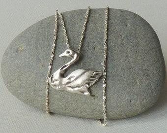 Sterling Silver Swan Necklace 925 Silver Bird Southwestern Minimalist Swan Pendant Etched Necklace Minimalist Diamond Cut Bird Jewelry
