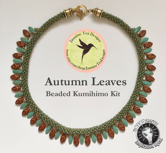 Autumn Leaves Fully Beaded Kumihimo Necklace with Embellishment Kit and Tutorial