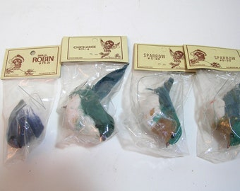 Feather Birds, Robins, Set of Four