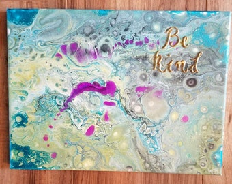 Be Kind acrylic abstract painting