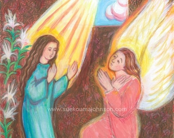 Baptism Gift - Mothers Day - Angel Gabriel - Blessed Virgin Mary - The Annunciation - small print - Catholic Art