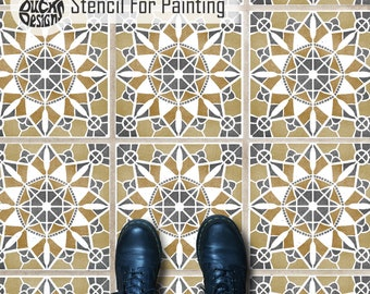 MACRAME TILE STENCIL - Moroccan Wall Craft Furniture Floor Tile Stencil for Painting - MACR01
