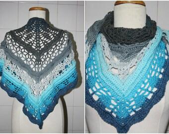 blue  crochet shawl , collar, scarf , ready to ship