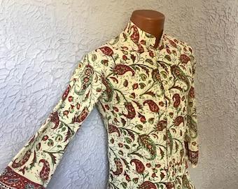 1960's Vintage Men's Hippie Nehru Shirt tunic original XS 14/14.5 S
