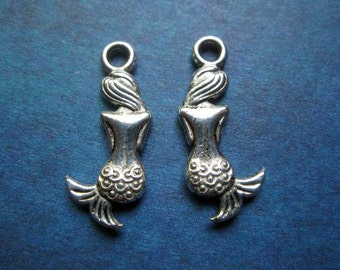 6 Mermaid Back Charms in Silver Tone - C1329