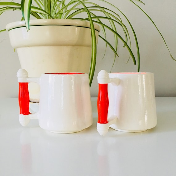 Vintage White and Red Coffee Mugs Set of (2) Mid Century Modern Retro Ceramic Coffee Cups