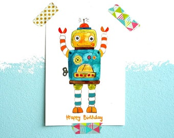 Postcard *happy birthday* with robot