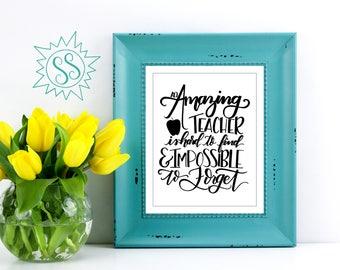 Best Teacher Gift Idea / Perfect Teacher Gift Idea / Gift Ideas for Teachers / Amazing Teachers are Hard to Find / Teacher Wall Art / THW132