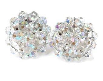 AB Crystal Bead Cluster Earrings Clip On  Large Glitzy Bridal Wedding