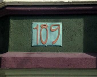 "Art Nouveau Copper Plaque , 6""/150mm high numbers, other fonts available, unique on the web g"