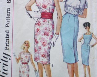 Simplicity 3464 1950s Sheath Dress, Crop Jacket, Vintage Sewing Pattern WIGGLE