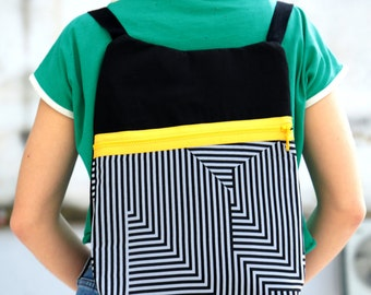 Rucksack, black&white, women's rucksack, black and white dazzling pattern, asymmetric yellow zipper, black, recycled material