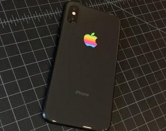 Set of 2 Retro vintage apple rainbow logo iPhone X, iPhone 8, iPhone 7, iPhone 6