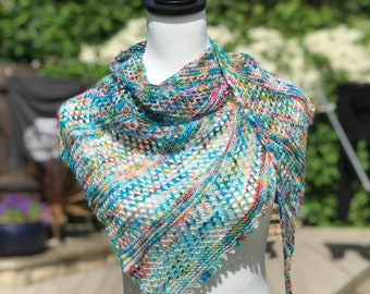 PDF Shawl Knitting Pattern - My Wavelength - Make with one skein