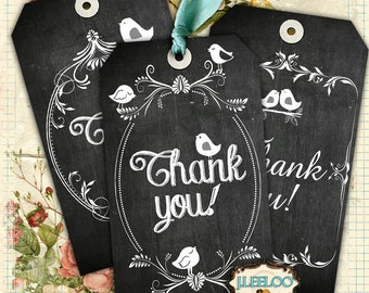 THANK YOU - label tags cards print label store - blackboard digital collage sheet printable - gift tag graphic - instant download - tl150