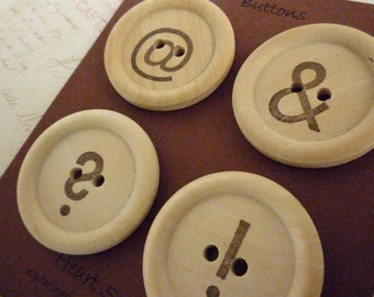 CLEARANCE Wooden Buttons - Stamped Typo Collection - 35mm