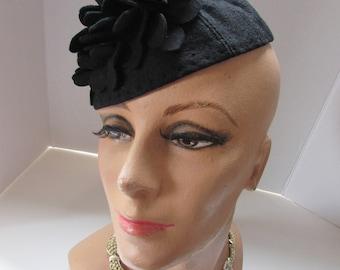 1940 Era Hat Vintage Half Hat Black Felt Hat Felt Petals Hat for Pattern Theater Production Hat Hat for Salvage Re Purpose Fashion