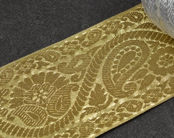 "3-1/8"" (80mm) Metallic Jacquard Ribbon Trim by 2 yards, SMB-76"