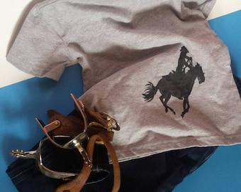 Raising Heroes - Black Silhouette Cowboy Wrangler - 4T Gray Cotton Toddler's T-Shirt - Fun Based Child's Shirt - Small Beans Wear