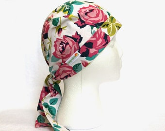 Scrub Hats for Women, roses, White, Tie back Surgical Scrub Cap, Operating Hat, Operating Cap, pixie style, pixie scrub cap, scrub hat